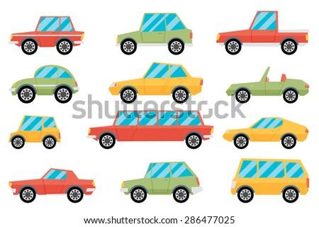 Set of cartoon cars. Flat vector. - stock vector