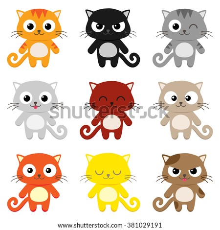 Set of 9 cartoon cats with various expressions - stock vector