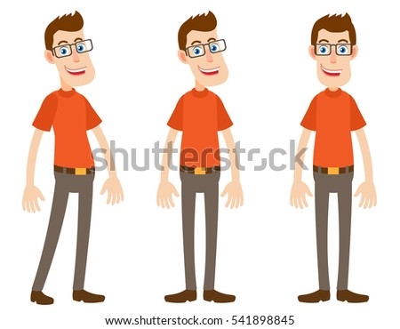 Set of Cartoon Character at different angles. Front and side view. Full length portrait of Cartoon Character in a flat style. Positions set for rigging and animation. Vector illustration.