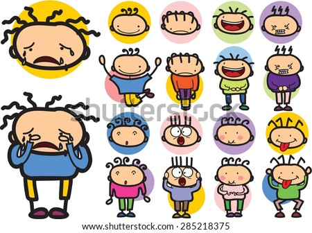 Set of cartoon character with different emotions  - stock vector