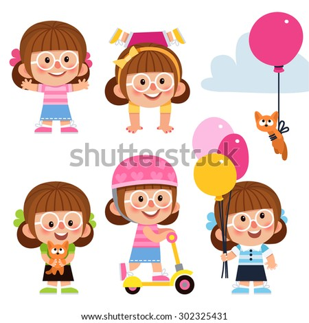 Set of cartoon characters. Girl fun, girl standing on her head, girl plays with a cat, girl on scooter, girl with balloons. Cute, funny, little girl. Cute baby girl in glasses. - stock vector