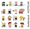 Set of cartoon characters. Various trades - stock vector