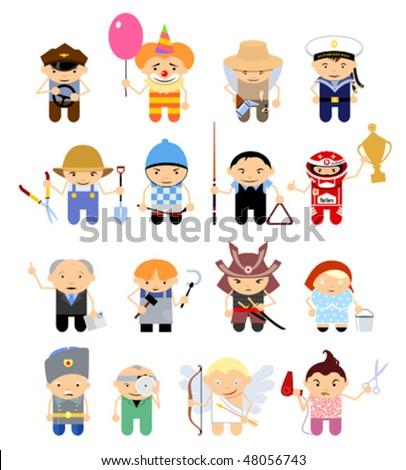 Set of cartoon characters. Various trades. Part 2 - stock vector