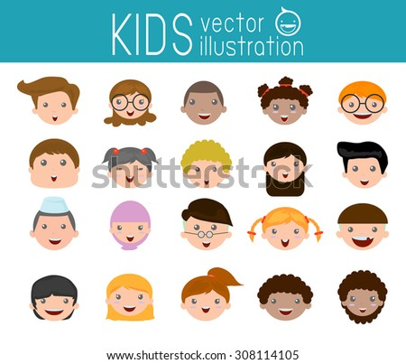 Set of cartoon children head, cartoon child face icon,kid face, kids and different nationalities ,  Vector Illustration - stock vector