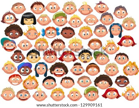 set of cartoon children's faces - stock vector