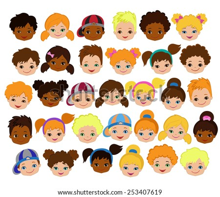 Set of cartoon children's faces. Cartoon child face icon - stock vector