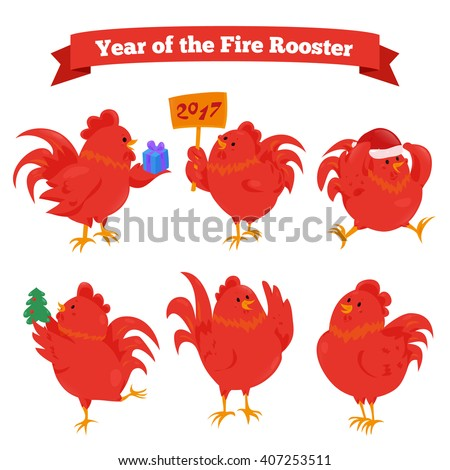 Set of cartoon chinese zodiac fire rooster isolated on white background. Vector illustration for happy new year 2017 greeting card. Flat red cock bird icons. Fun rooster stick decoration concept