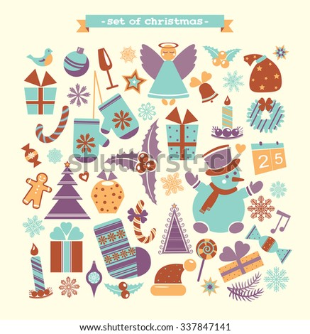Set of cartoon christmas and new year element. Winter vector illustration. - stock vector
