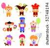 Set of cartoon clowns - stock vector