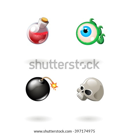 Set of cartoon colored objects with different signs element for use in the game, three in a row - stock vector