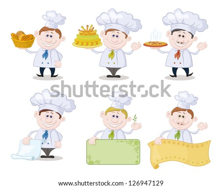 Set of cartoon cooks, chefs: hold basket of bread, cake, pizza, menus, posters. Vector - stock vector