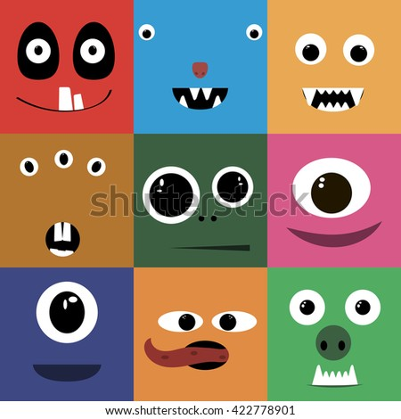 Set of cartoon cute character Monsters. Vector flat illustration.