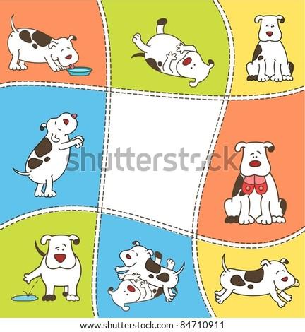 Set of cartoon dogs. Vector - stock vector