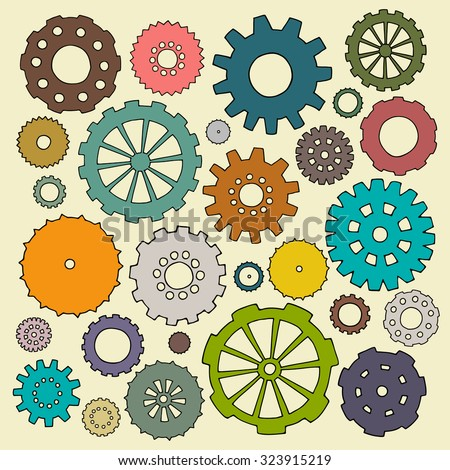 Set of cartoon doodle gears. Mechanical bright elements for business design. Decorative vector kid illustration isolated on light background. All colored cogs organized in groups for easy editing. - stock vector