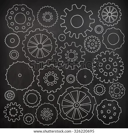 Set of cartoon doodle gears. Mechanical bright elements for business design. Decorative vector kid illustration isolated on black background. All white cogs organized in groups for easy editing. - stock vector