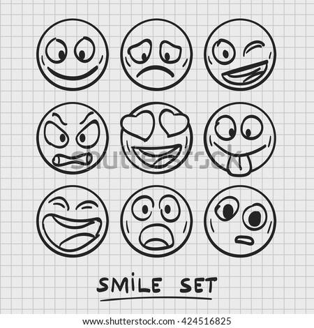 set of cartoon emoji. Sketch emoji. Emoji set. Vector illustration - stock vector