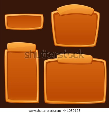Set of cartoon empty boards for text, game panels, advertising in different size. Vector illustration - stock vector