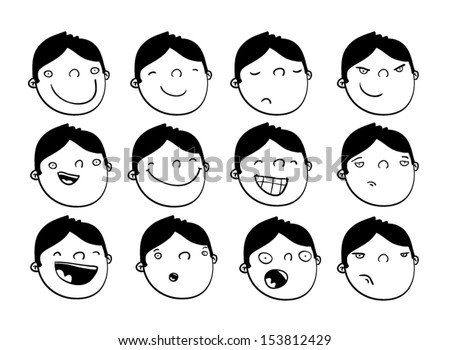 Set of cartoon faces of a boy with different expressions - stock vector