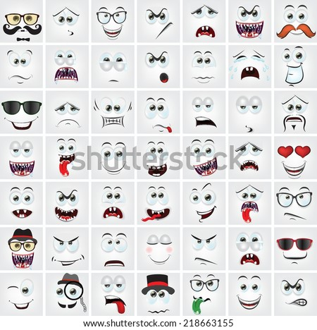 Set of 49 cartoon faces with different emotions  - stock vector