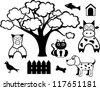 set of cartoon farm animals - stock photo