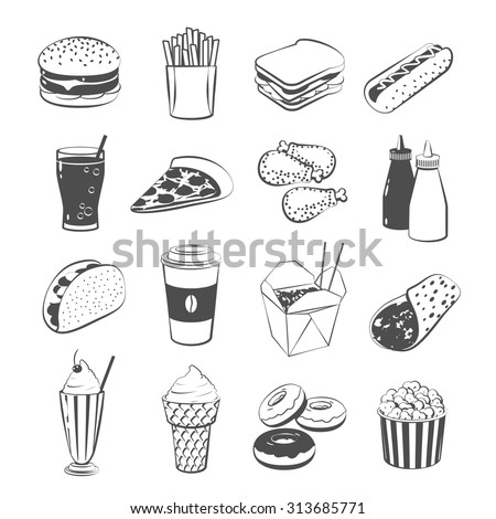 Set of cartoon fast food: hamburger, french fries, sandwich, hot dog, pizza, chicken, ketchup and mustard, taco, coffee, black & white version. Vector illustration, eps10, isolated on transparent background.