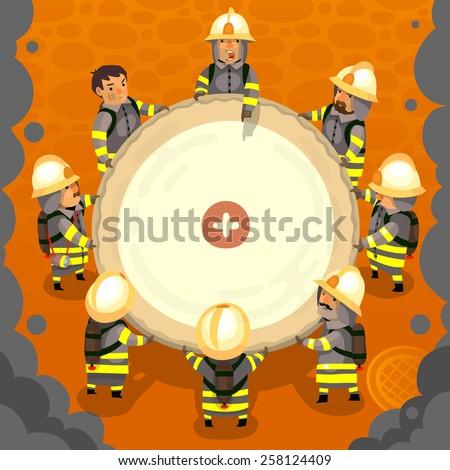 Set of cartoon fireman doing their job and saving people. EPS 10 - stock vector