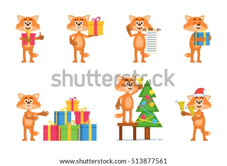 Set of cartoon fox characters posing in different situations. Cheerful fox holding gift box, present, scroll, jingle bells, decorating Christmas tree. Flat vector illustration