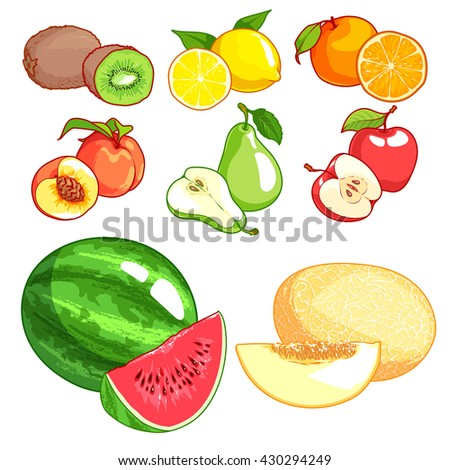 Set of cartoon fruits. Vector icons set  on a white background. Kiwi, lemon, orange, peach, pear, apple, watermelon and melon. - stock vector