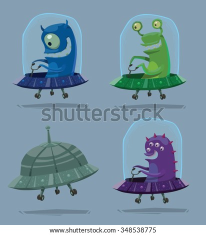 Set of cartoon funny aliens flying into deep space in small spaceships, vector illustration - stock vector