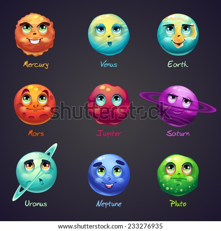 "Set of cartoon, funny planets of the solar system. These objects can be used for computer games: the game ""3 in a row"". - stock vector"
