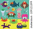 Set of cartoon funny sea animals: fishes, octopuses, crabs, sea-stars. - stock photo