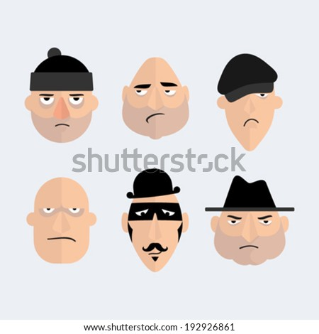Set of cartoon gangsters faces