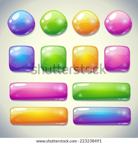 Set of cartoon glossy buttons for game or web design
