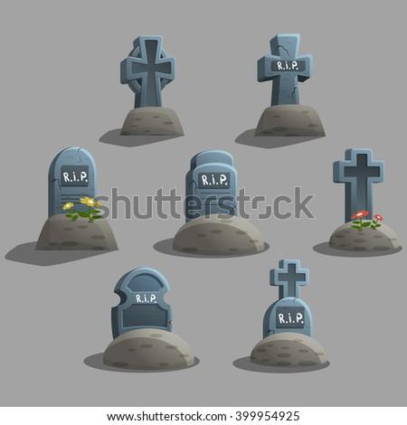 Set of cartoon grave. Vector illustration. - stock vector