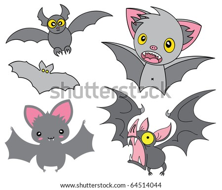Set of cartoon Halloween grey bats. Vector illustration. - stock vector