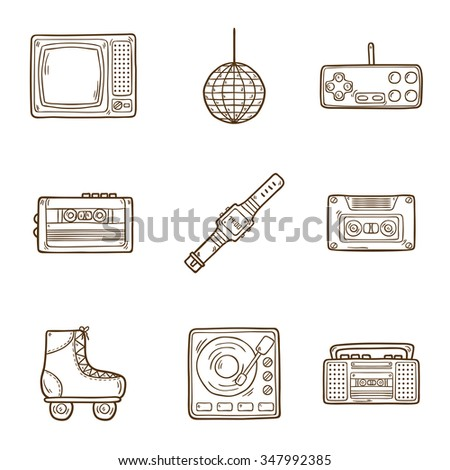 Set of cartoon hand drawn icons on retro 80s theme