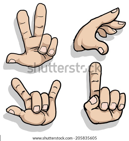 Set of cartoon hand signs, vector illustration - stock vector