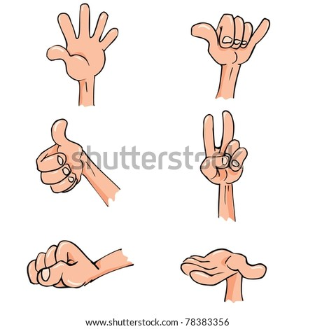 Set of Cartoon hands in everyday poses. Isolated on white - stock vector