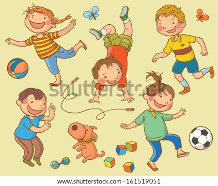 Set of Cartoon Happy Children Playing. Back to School isolated objects on white background. Great illustration for a school books and more. VECTOR. - stock vector