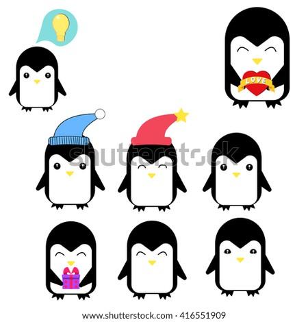Set of cartoon happy penguins. Vector flat illustration, - stock vector