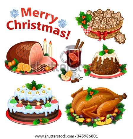 Set of cartoon icons for Christmas dinner, traditional christmas food and desserts, roast Turkey, ham, pie, pudding, mulled wine. Vector illustration - stock vector