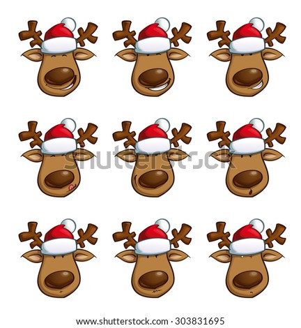 Set of cartoon illustrations of a Christmas elk in 9 expressions. Each pose on a separate layer. Face, nose, hat and each eye are separately in designated groups for easy editing and combinations. - stock vector