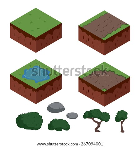 Set of cartoon isometric ground elements for games. vector illustration - stock vector