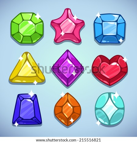 Set of cartoon jewels with sparkles - stock vector