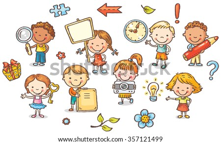 Set of cartoon kids holding different objects - stock vector