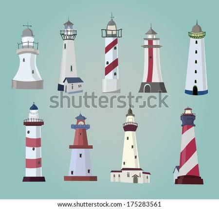 set of cartoon lighthouses. Flat icons.  - stock vector