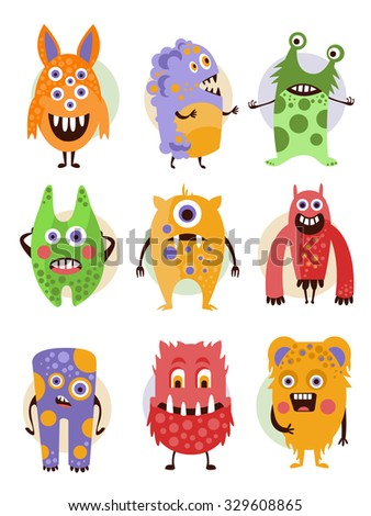 Set of cartoon monsters in a flat style. Collection of emotional creatures. - stock vector