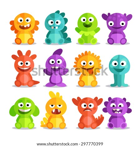 Set of cartoon monsters in a flat style. Colorful monsters with different emotions - happy, anxious, angry, surprised, foolish. - stock vector
