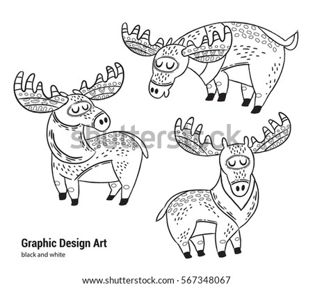 Set Cartoon Moose Coloring Pages Art Stock Vector 567348067 ...