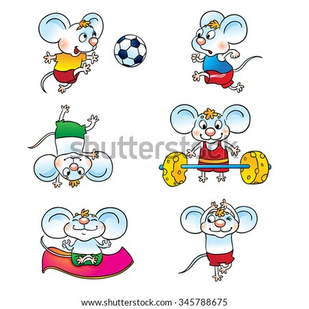 Set of cartoon mouse . Mouse playing soccer, running, standing on his head, yoga, raises the bar. - stock vector